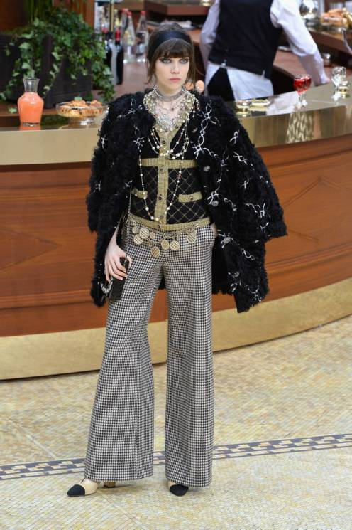 A model walks the runway during the Chanel show as part of the Paris Fashion Week Womenswear Fall/Winter 2015/2016 on March 10, 2015 in Paris, France.